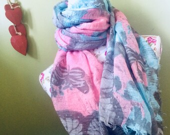Rocky Mountain blue & pink ladies Scarf women's Scarves Wrap pattern soft fashion boxed wrapped 24 hr dispatch Kirsche gift