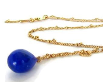 Lapis Lazuli Necklace, Dainty Gold Pendant, Dainty Pendant Blue, MInimal Gold Necklace, Minimal Gold Pendant, September Birthstone Gift