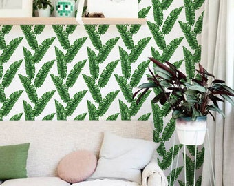Green banana leaves removable wallpaper, Large leaves temporary wallpaper, Tropical wallpaper, Exotic leaves wall decal, 289