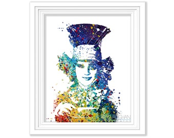 The Mad Hatter Art Print Alice In Wonderland Watercolor Painting Johnny Depp Illustration  Home Decor Wall Art Fine Art Print Gift (No.172)