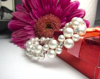 Swarovski pearl bracelet Bridal bracelet Swarovski bracelet Bridal accessory wedding Bride bracelet White pearls bracelet Classic wedding
