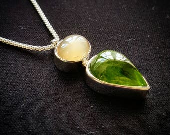 Peridot and Moonstone Sterling Silver Pendant