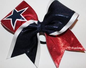 Patriotic Allstar Metallic Cheerleading bow with STAR by Funbows