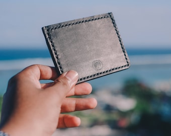 Minimal Leather Card Wallet // Leather Card Wallet // Leather Wallet // Black