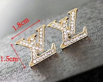 Designer LV Inspp. Crystal Stud Earrings Gold or Silver Finish