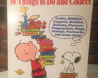 70s Charlie Brown Book of things to do and collect  1975   Free Shipping