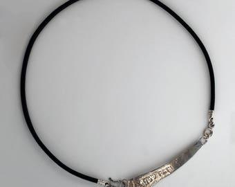 Hebrew custom designer your name necklace monogram silver necklace.
