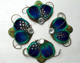 Mini Hair Clip Collection - Blue, Green, and Polka Dot Peacock Feather Hair Clips with Crystal