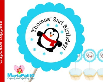 Winter Penguin Party Cupcake Toppers, 12 Personalized Cupcake Toppers , Monster Birthday A1150