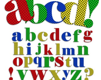 Lowercase Polka dot Alphabet Clip art  for Scrapbooking, Invitation, crafts, 112 pngs 4 Colors
