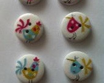 15 x wooden round hen bird buttons