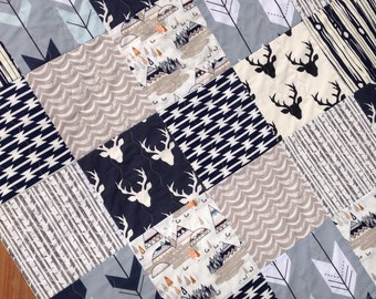 Woodland Baby Quilt,Rustic Baby Quilt,Deer, Arrows, Teepees, Gender Neutral, Art Gallery, Modern Baby Quilt, Grey and Navy, Q 3