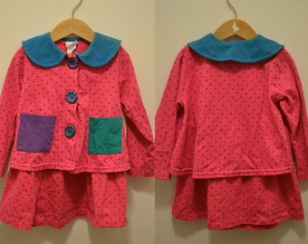 90s Buster Brown outfit size 4 pink top bottom skirt jacket funky bright 80s 2 piece polka dots chunky buttons bright neon funky