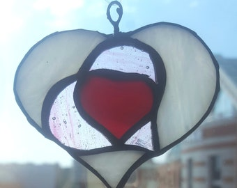 Red white stained glass heart suncatcher