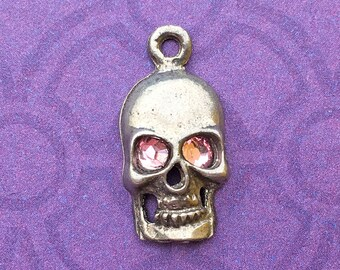 Handmade Skull Charm with Light Rose Crystal Eyes, Lead Free Pewter, about 17mm x 9mm