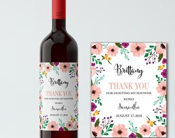Bridal Shower Hostess Gift Wine Label, CUSTOM Thank you for Hosting my Bachelorette Party, Hens Party, Wedding Couples Shower, WEATHERPROOF