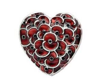 Remembrance Day 2016 Enamel Heart Poppy Brooch