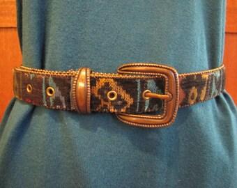 Geometric Fabric Belt with Metalic Bead Trim Detail