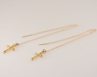 Cross earrings. Gold cross earrings. Gold cross chain earrings. Chain cross earrings.