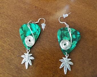 Pot leaf and green guitar pick dangle earrings