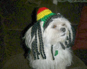 RASTA pet hat - with or without Dreads - Humorous - 2 to 20 lb pets - made to order