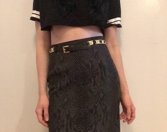 90s snake print high waisted pencil skirt, green black animal print mini skirt, small - vintage -
