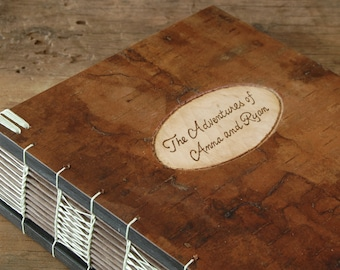 cabin or wedding guest book custom tree bark cover - personalized rustic engraved wood book fall wedding anniversary gift -made to order