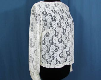 Chantilly Lace Blouse - Boat Neck - Rhinestone button cuffs - Back snaps - 1960s - Med