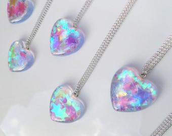 Heart Shaped Resin Pendant Charm Necklace Kawaii Kitsch Iridescent Opal Stars Cute Festival