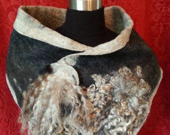 P#245. NZ Merino Felted Neck Warmer + Brooch.