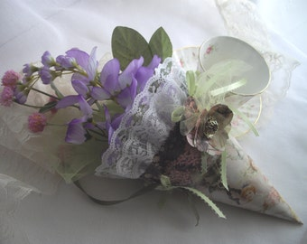 Flower Girl Basket Alternative Hydrangea Lily Of The Valley Tussie Mussie Keepsake Victorian Imagery One Of A Kind  Petal Cone handcraftusa