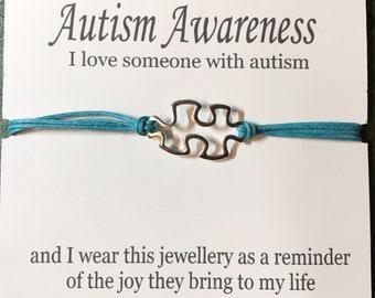 Autism Awareness Bracelet with Jigsaw Puzzle Charm