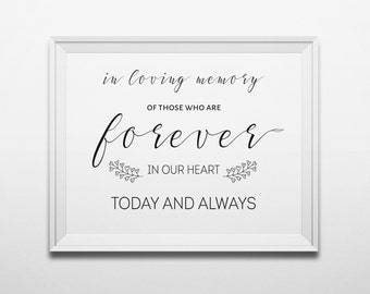 In loving memory Wedding sign printable Memorial sign Wedding print In our hearts Rememberance sign Memory table Wedding memorial table