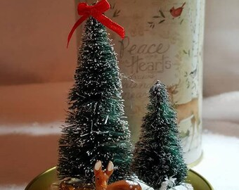 Christmas In A Can, Put A Lid On It! Small deer with Christmas Trees topped with a red bow & gift underneath, Handmade OOAK Easy to store