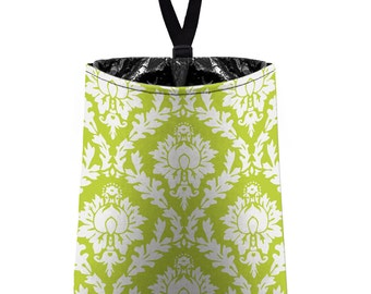 Car Trash Bag // Auto Trash Bag // Car Accessories // Car Litter Bag // Car Garbage Bag - Citrus Green Damask // Car Organizer