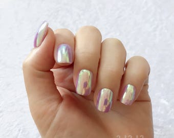 Short Squoval, Aurora, Hologram, Pastel Purple, Mirror, Gel, Hand Painted, Nail Tips / Press On / Stick On / Fake Nails - 12 pcs or 20 pcs,