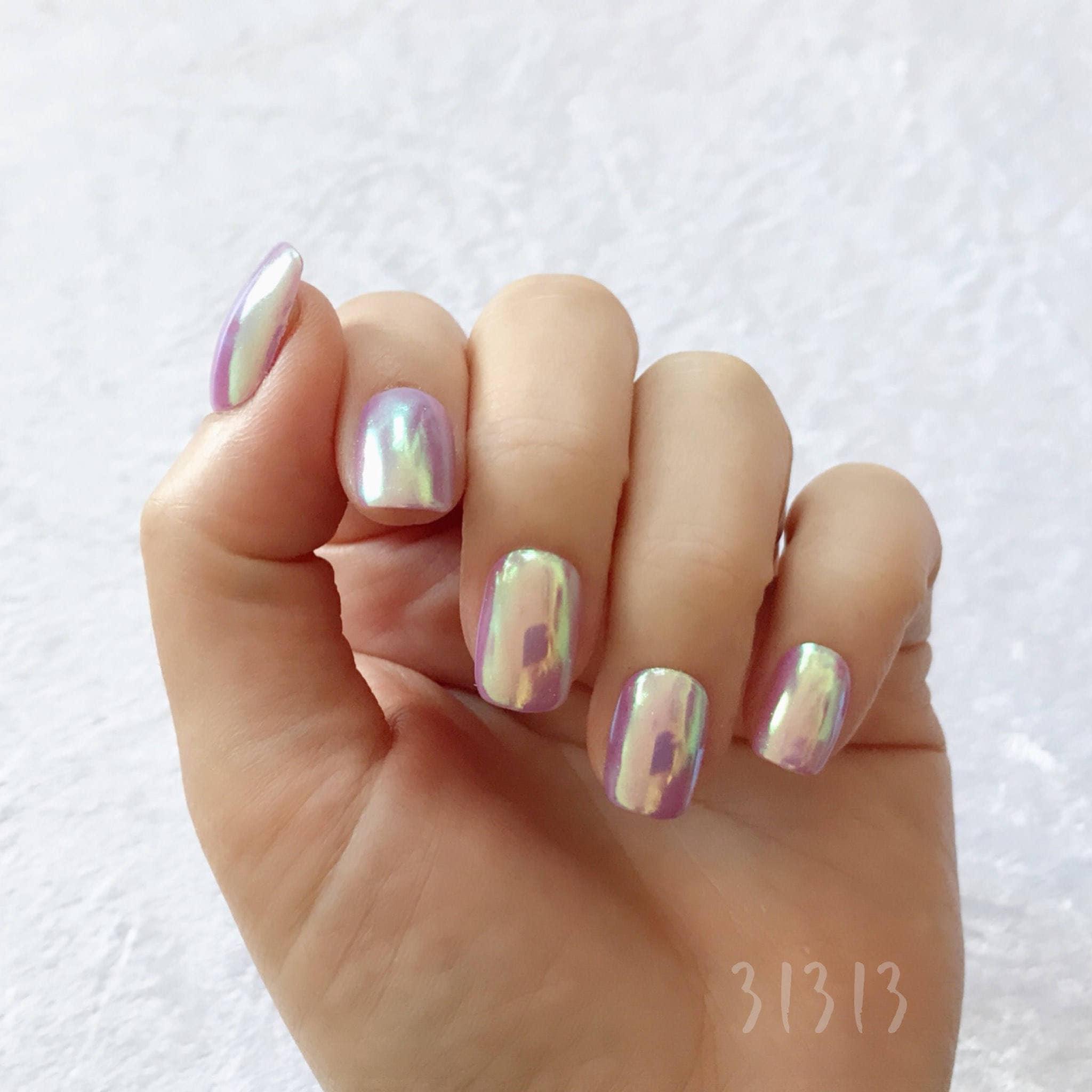 Short Squoval Aurora Hologram Pastel Purple Mirror Gel
