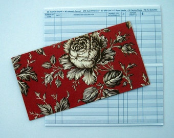 Checkbook Cover in Red and White Amy Griffin Floral Print