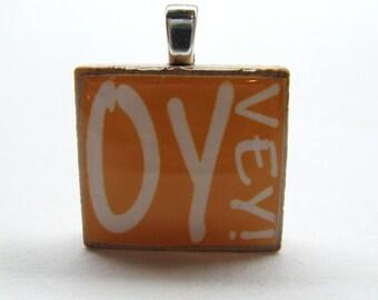 Hebrew Scrabble tile - Oy Vey - pumpkin orange