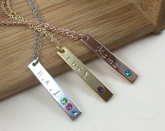Personalized necklace Gift for her Name necklace Birthstone Necklace Custom necklace Engraved necklace Rose Gold  Silver Gift for Mom Bar