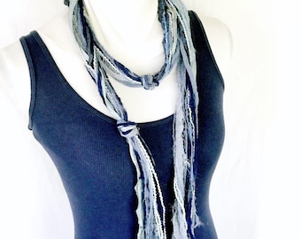 Blue Skinny Scarf | Art Yarn Scarf | Unique Handmade Scarves for Women | Boho Chic Clothing | Lightweight Summer Scarf | Extra Long Skinny