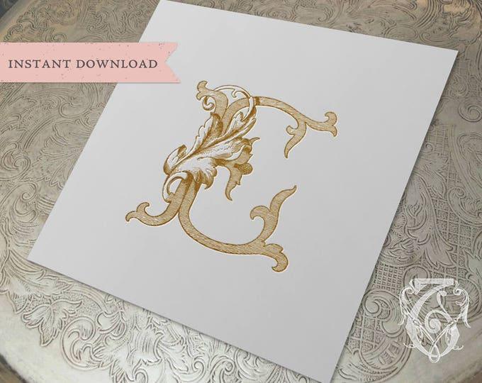 Vintage Wedding Crest Initial E Digital Download