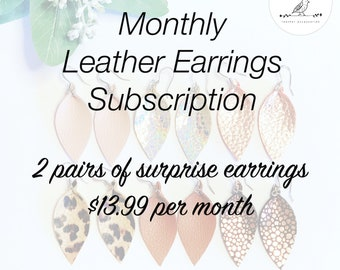 Monthly Subscription box- Leather earrings- jewelry subscription box- leather jewelry- rose gold earrings- joanna gaines inspired-