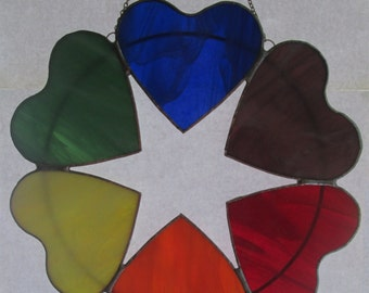 Rainbow Heart Wreath in Stained Glass / Rainbow Stained Glass Suncatcher / Color Wheel