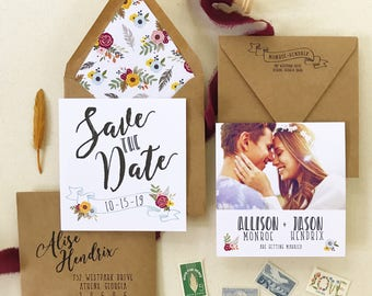 Save the Date in Boho Banner Design - Rustic Save the Date with floral envelope liners