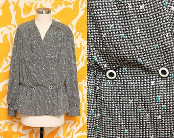 Houndstooth Blouse // Long Sleeve Drapey Top // 80s Pleated Feminine Criss Cross Front Loose Fit Cinch Waist Size Medium