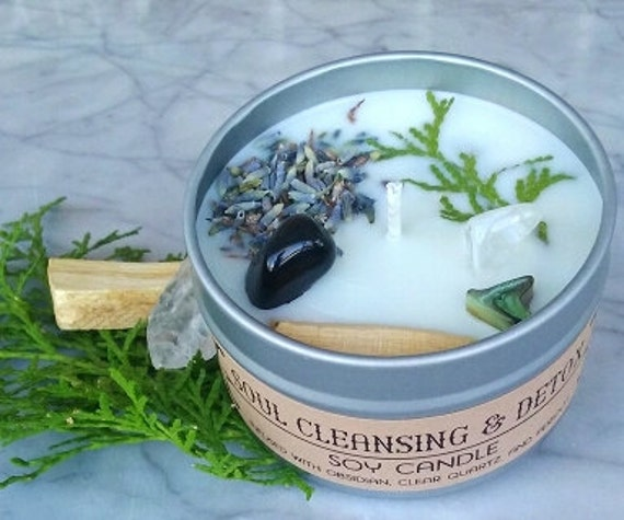 SOUL CLEANSING &  DETOX Soy Candle infused with Obsidian,  Clear Quartz, and Peridot