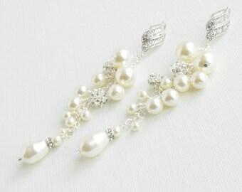 Bridal Earrings, Pearl Wedding Earrings, Swarovski Pearl Crystal Cluster Earrings, Bridal Jewelry, Pearl Teardrop Earrings