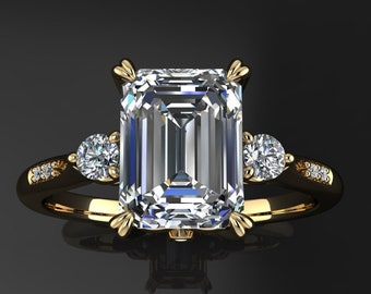 Private Listing for Julie - custom 1.75 carat emerald cut NEO moissanite engagement ring, payment 1 of 4