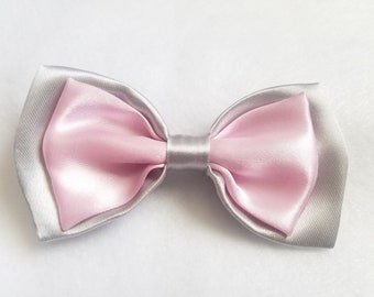 Silver + Baby Pink Satin Double Bow tie for kids boy toddler or baby Sizes NB - 7 Yrs